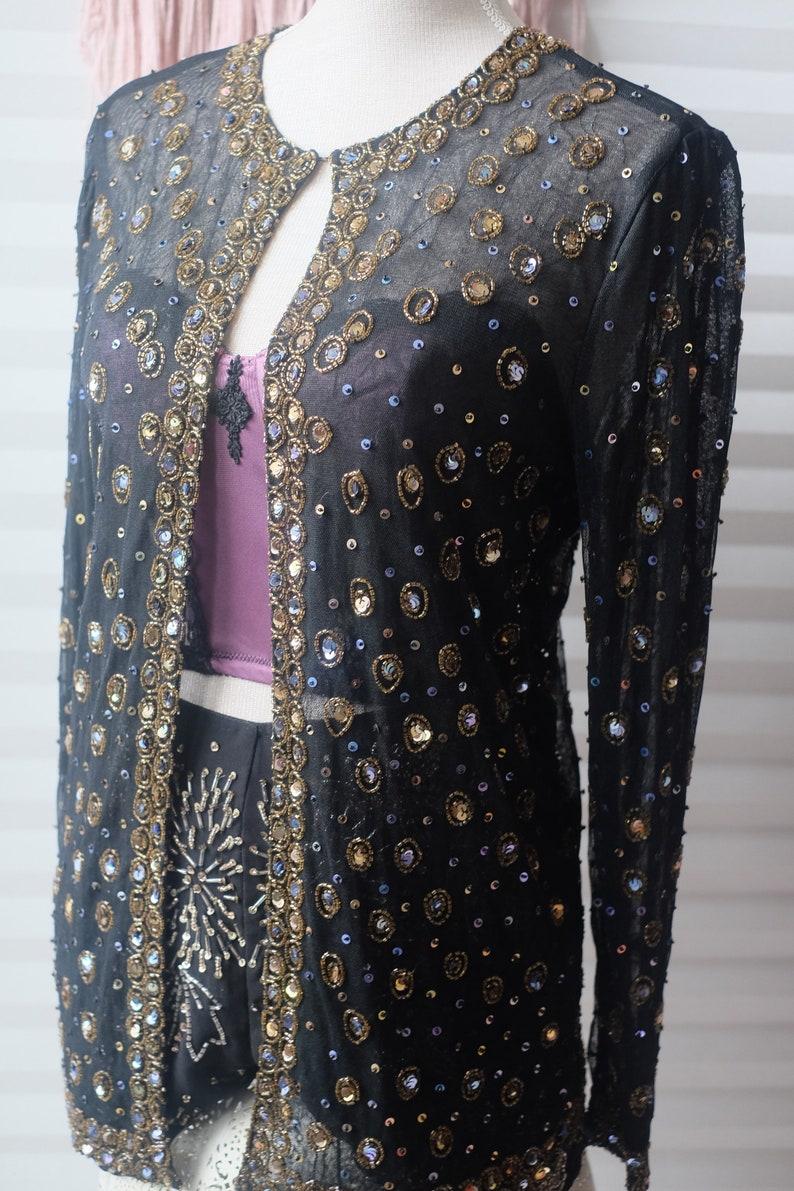 ea53efbbc53 Vintage 80s Sequined Jeweled Art Jacket Black Sheer Mesh Gold