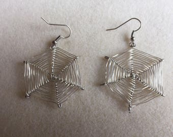 Handmade wire earrings spiderwebs