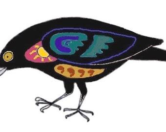 5 x 7 Greeting Card Blank Inside: Crow