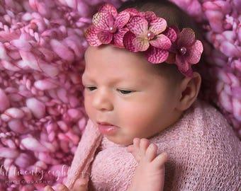 Pink 3 Flower Headband with Pink Pearl Center, Baby Headband, Newborn Headband, Photo Prop