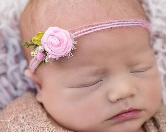 Fairy Garden Tie Back Headband, Newborn Photo Prop, Pink Flower Headband