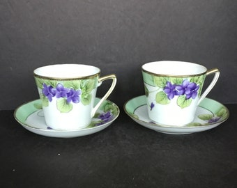 Pair of Violet Nippon Demitasse Size Cups