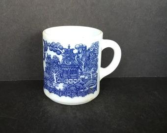 Milk Glass Mug with Blue Willow Pattern