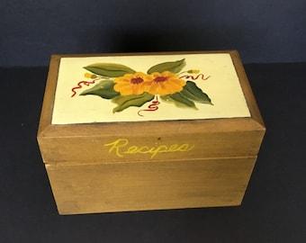 Wood Recipe Box - Yellow Flowers
