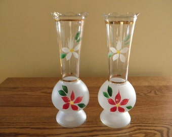Hand Painted Frosted Vases