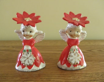 SALE HTF Napcoware Christmas Angel Shakers 1956