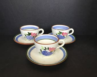 Stangl Fruit and Flowers Cups and Saucers - 3 Sets