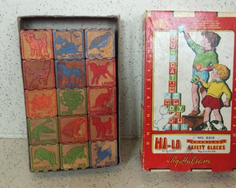 Vintage Box of Wood Building Blocks  - Halsam