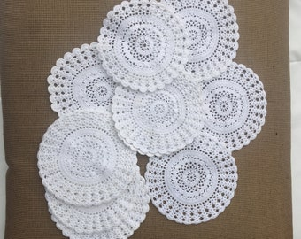 Set of 3 Vintage Crochet Doilies Off-White Cotton Doilies Cottage French Country Home Decor Victorian Handmade Shabby Chic Farmhouse