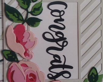 Hand Made Congrats Congratulations Wedding Shower Birthday Celebration Greeting Card