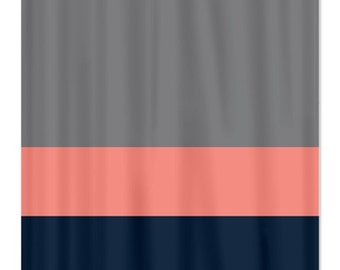 Custom Color Block Shower Curtain Titanium Grey Coral Navy OR Choose Colors Standard Extra Long Sizes Available