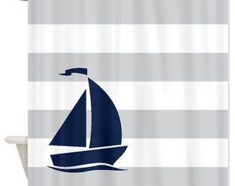 Nautical Shower Curtain Light Grey And White Stripes Navy Blue Sailboat Customize Colors Standard Extra Long Sizes Available Preppy Bath