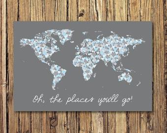 World Map X Etsy - 36 x 48 world map