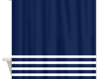 Striped Shower Curtain Navy Blue And Mint Stripes Or Customize Etsy
