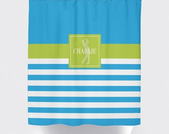 Golf Shower Curtain For Boys Monogrammed Name Preppy Stripe Male Golfer Turquoise Lime Green Or ANY COLOR Standard Extra Long Size