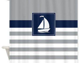 Nautical Shower Curtain Preppy Stripes With Sailboat Navy Blue Grey White OR Customize Colors Standard Extra Long Sizes