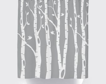 Birch Tree Shower Curtain With Birds