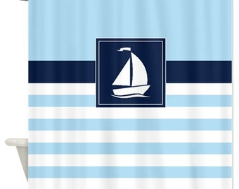 Nautical Shower Curtain Preppy Stripes With Sailboat Navy Blue Light White OR Customize Colors Standard Extra Long Sizes