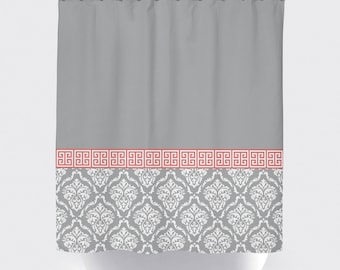 Damask And Greek Key Shower Curtain
