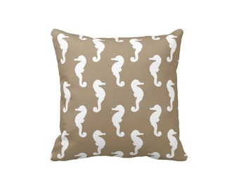 Anpassen Der Adrette Seahorse Throw Pillow U0026 Cover Tan Und Whtie OR W/ANY  Colors 14x14 16x16 18x18 20x20 14x20 26x26 Ocean Sea Kreatur