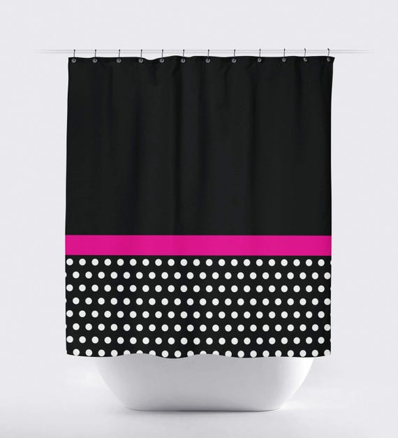 Polka Dot Color Block Shower Curtain Hot Pink Black White