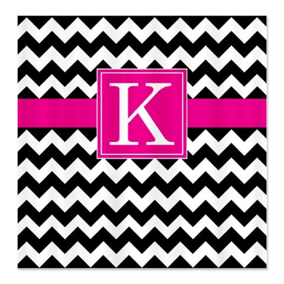 Personalized Chevron Shower Curtain With Monogram