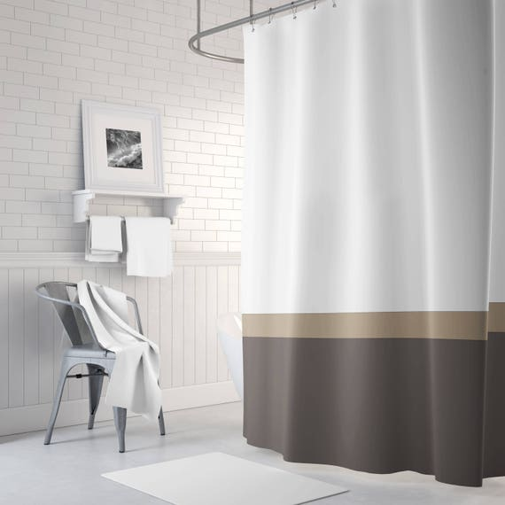 Color Block Shower Curtain Tan Brown White OR ANY Colors