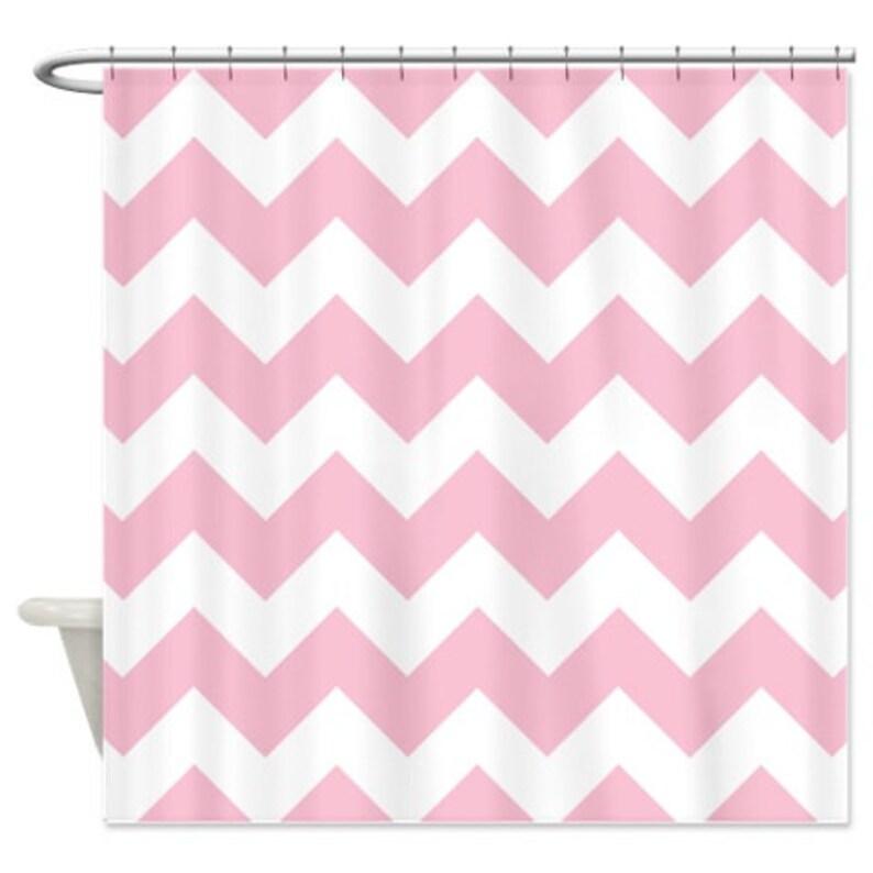 Chevron Shower Curtain Light Pink White Zig Zag