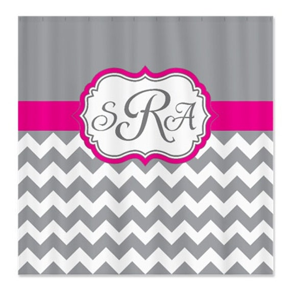 Hot Pink Grey White Chevron Shower Curtain Personalized