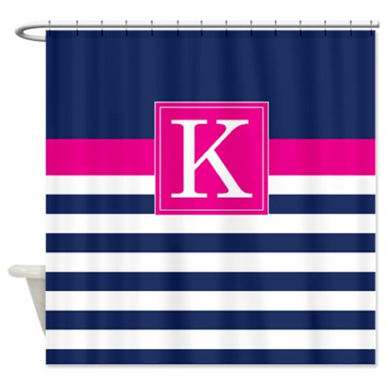 Custom Striped Shower Curtain Personalized W Monogram