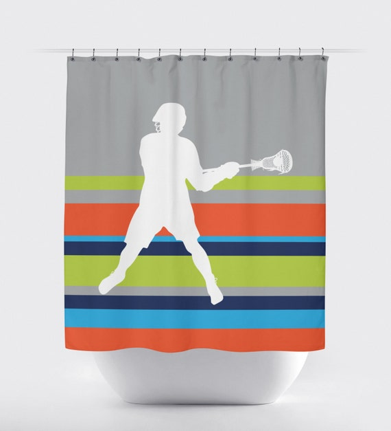 Boys Lacrosse Shower Curtain Custom LAX Bathroom