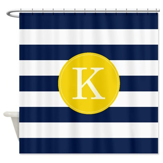 Preppy Personalized Striped Shower Curtain With Monogram