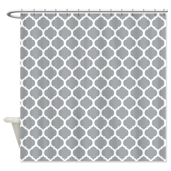 Custom Quatrefoil Shower Curtain Grey And White Pattern Or