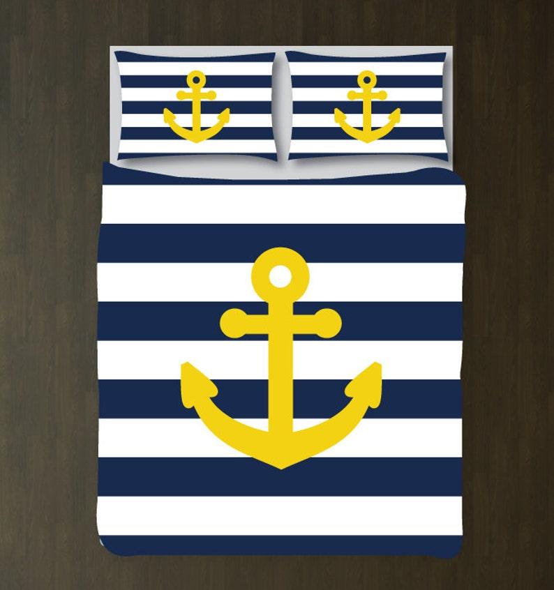 Custom Nautical Duvet Bedding Set Navy Blue White Etsy