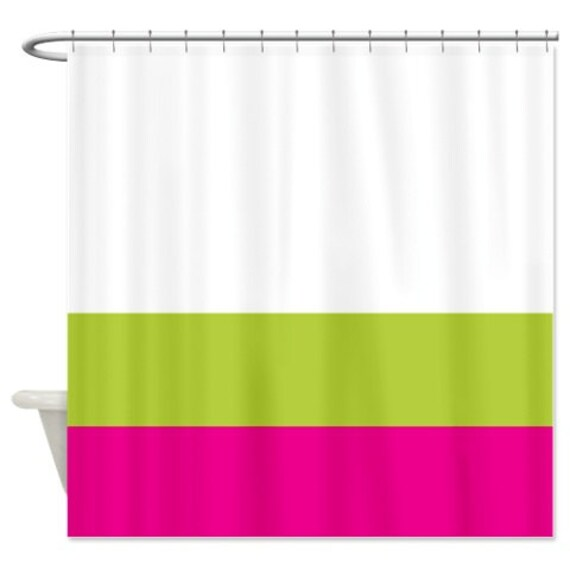 Custom Color Block Shower Curtain White Bright Chartreuse