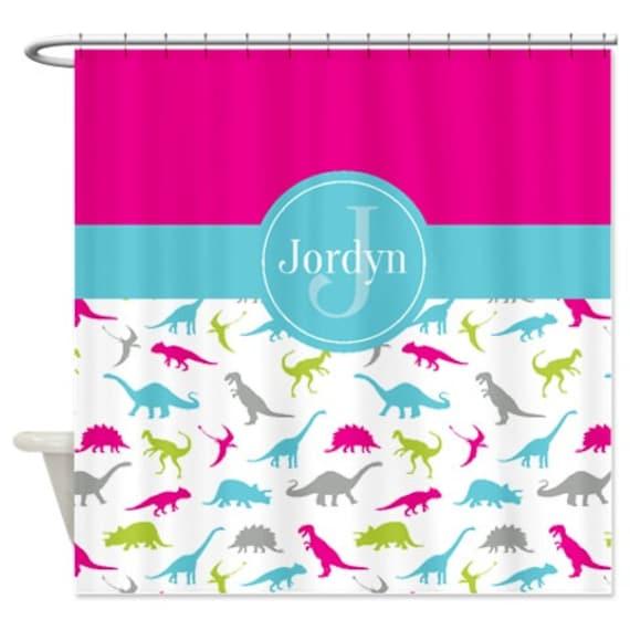 Custom Dinosaur Shower Curtain Monogrammed Name Aqua Blue Hot