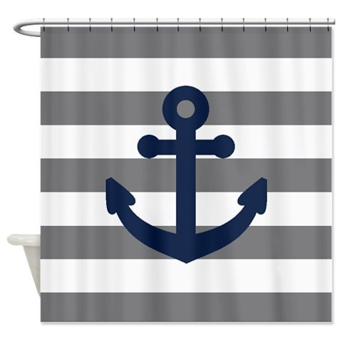 Nautical Shower Curtain Grey And White Stripes Navy Blue