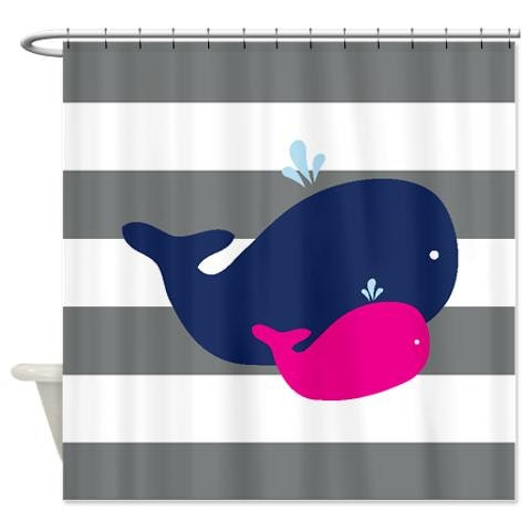 Whale Shower Curtain For Siblings Shared