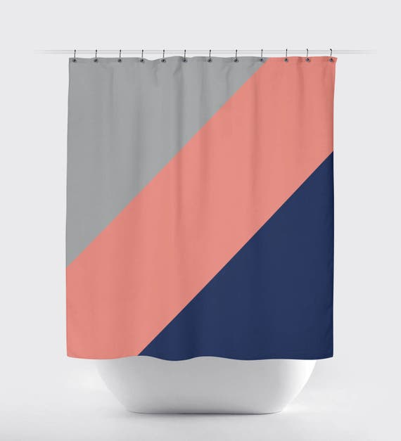 Diagonal Color Block Shower Curtain Grey Navy Blue Coral
