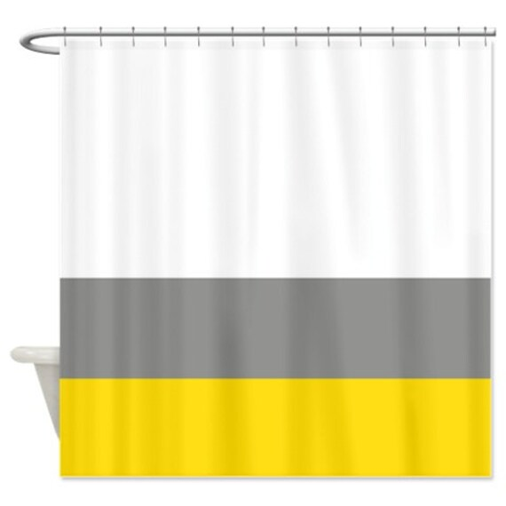Custom Color Block Shower Curtain White Grey Yellow OR Choose