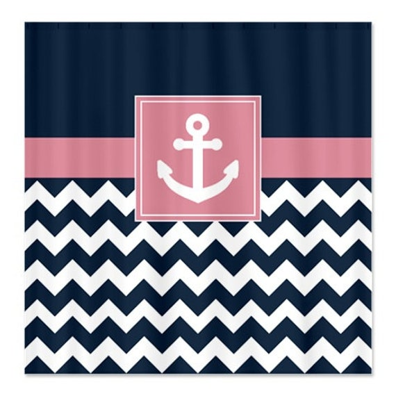 Nautical Shower Curtain Navy And White Chevron Dusty Rose