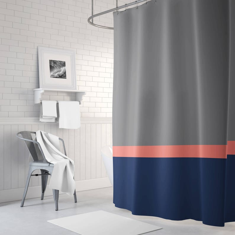 Color Block Shower Curtain Grey Coral Navy Blue OR ANY
