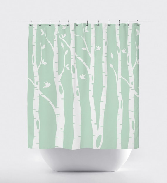 Birch Tree Shower Curtain With Birds Mint White OR ANY