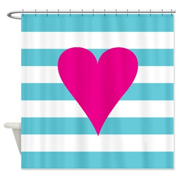 Heart Shower Curtain With Rugby Stripes-Aqua Blue-Hot