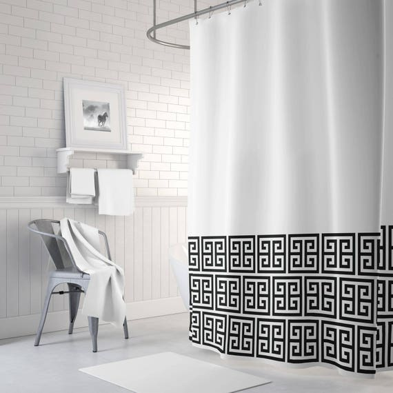 Greek Key Shower Curtain White And Black OR Choose ANY