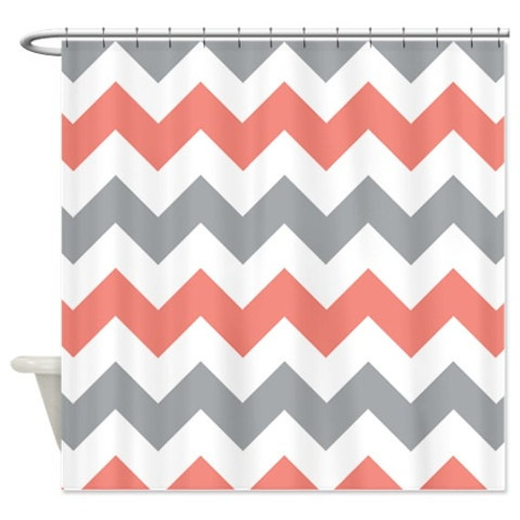 Chevron Shower Curtain Coral Grey And White Zig Zag Stripes