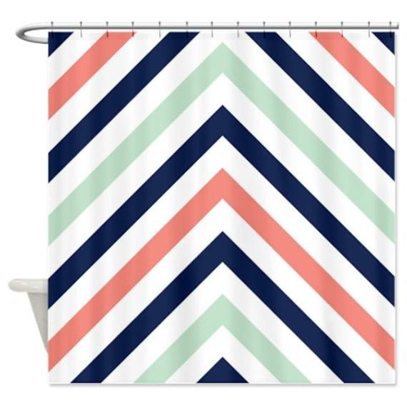 Chevron Shower Curtain Modern Navy Mint Coral White Stripes