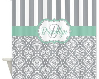 Damask Shower Curtain, Monogrammed Shower Curtain, Custom, Personalized Name, Grayed Jade, Grey OR Choose Colors, Standard & Extra Long Size