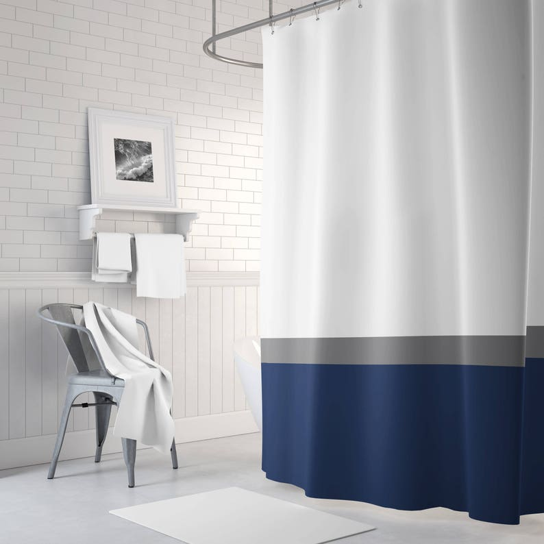 Color Block Shower Curtain Grey White Navy Blue OR ANY