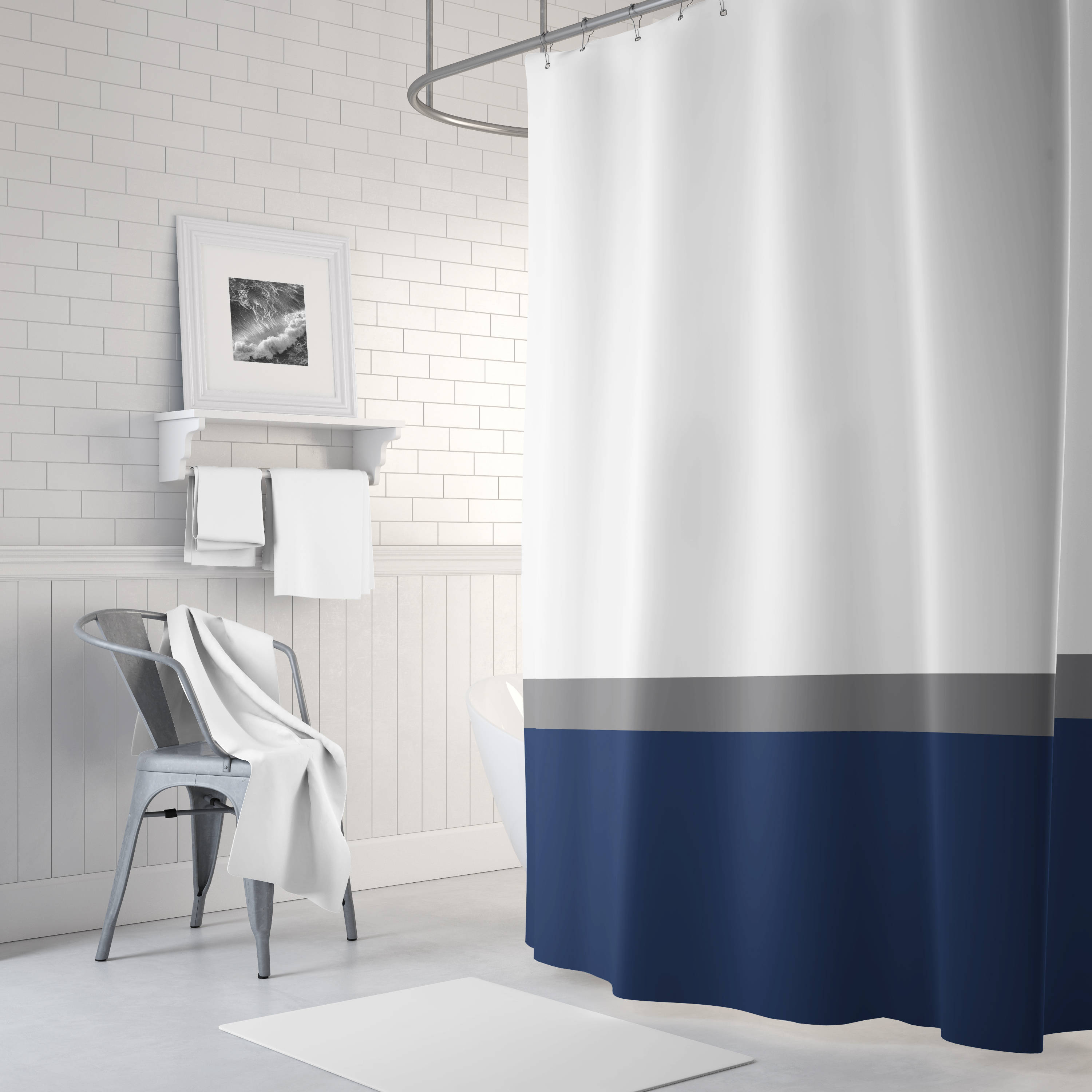 Color Block Shower Curtain Grey White Navy Blue Or Any Colors Standard Extra Long Sizes Custom Home Decor Striped Stripes